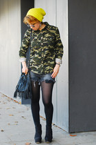 charcoal gray destroyed Zara shorts - olive green camo no name jacket