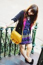 Blue-floral-primark-dress-navy-trench-sheinside-coat-mustard-zara-bag