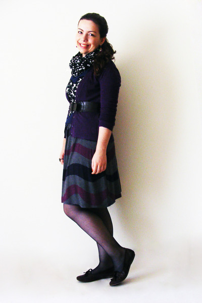 purple Uscita dress - navy sparrows Stradivarius shirt - black Primark scarf