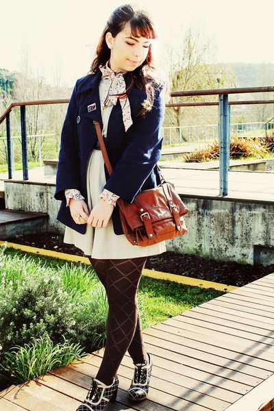 eggshell Mango dress - navy H&M coat - dark brown Primark tights