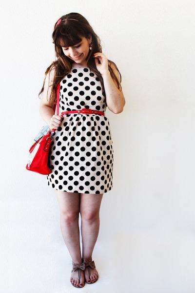 red polka dots Borboletas na Barriga hair accessory