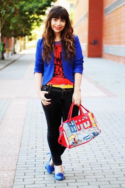 ruby red bonjour Primark t-shirt - blue Kristines Collection blazer