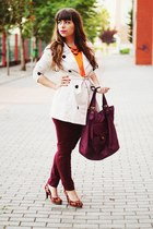 cream Stradivarius coat - maroon Parfois bag - orange neon thecolorIS top