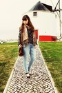 Light-blue-lanidor-jeans-gray-elbow-patches-sheinside-blazer
