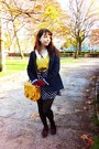 Blue-daisy-obambi-dress-navy-primark-coat-yellow-bershka-sweater
