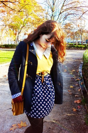 yellow Bershka sweater - blue daisy Obambi dress - navy Primark coat