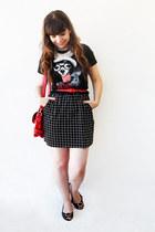 black Zara t-shirt - black check romwe dress - red romwe bag