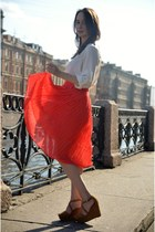 white Zara shirt - red Mango skirt