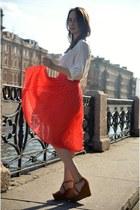 white Zara shirt - red Mango skirt