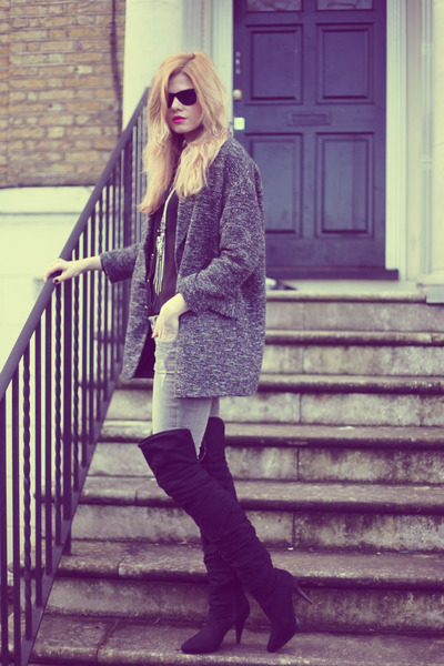 new look boots - Topshop coat - All Saints jeans