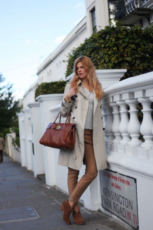 Burberry coat - Report boots - Mulberry bag - Zara top - Hugo Boss pants