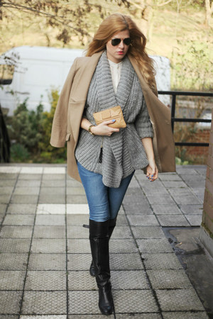 Oasis coat - Marc Jacobs bag - Zara cardigan