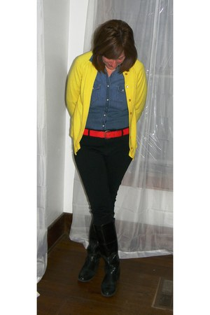 black Romantic Soles boots - blue denim Gap shirt - red favorite thrifted belt -