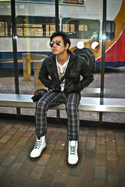 black Primark jacket - white shirt - gray H&M pants - black H&M accessories - Ri