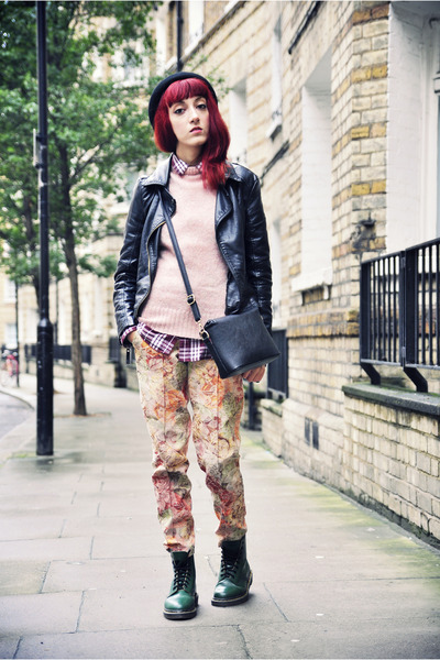 forest green doc martens boots - brick red H&M shirt - asos pants