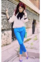 cream River Island blouse - periwinkle H&M flats