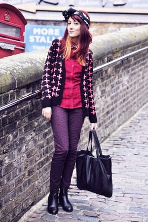 hot pink Primark cardigan - maroon leopard print H&M jeans