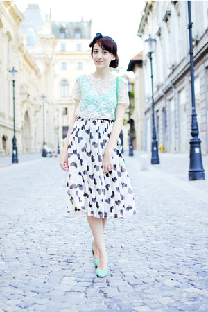 asos skirt - aquamarine H&M pumps - ivory lace Topshop blouse