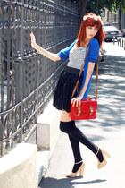 Primark bag - blue Margotte cardigan - nude asos heels