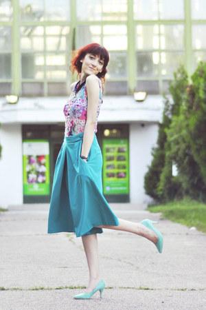 aquamarine H&M heels - Primark top - turquoise blue asos pants