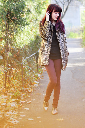 gold glitter oxfords asoscom shoes - leopard print new look coat