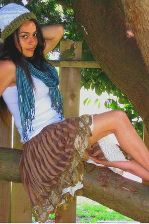 white blouse - brown skirt - blue accessories - silver