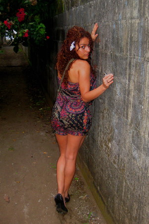 black shoes - amethyst dress - magenta dress - chartreuse shorts - carrot orange
