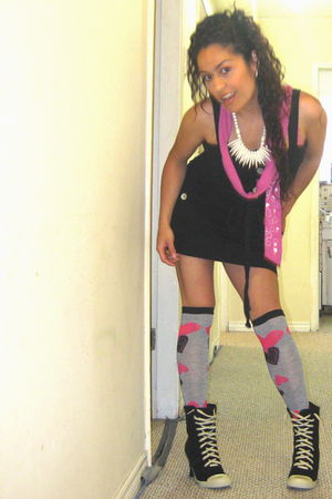pink socks - black boots - dress - scarf - beige necklace