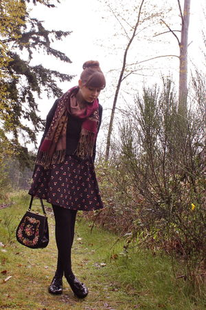 black UO jacket - black vintage dress - black H&M tights - black Bloch shoes - v