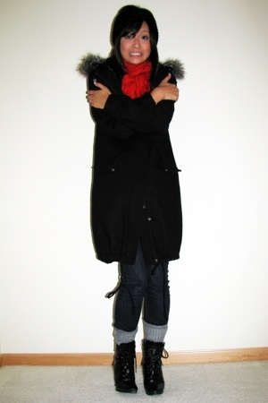 H&amp;M coat - H&amp;M accessories - H&amp;M scarf - Uniqlo jeans - payless shoes