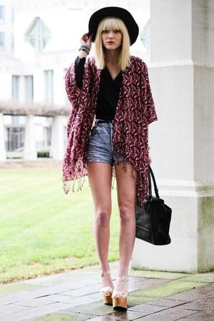 maroon shawl top