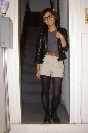 Gap jacket - vintage sweater - Alexander Wang shorts - doc martens shoes