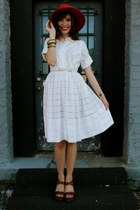 white dress - red hat - brown wedges