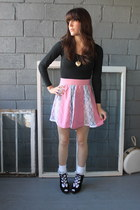 pink vintage skirt - black vintage top