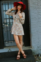 eggshell dress - ruby red hat - brown wedges