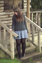 gray H&M sweater - blue modcloth dress - black George of ASDA tights - gray Rive