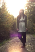 white H&M dress - green H&M cardigan - black next tights - brown Minnetonka shoe