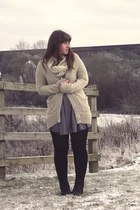silver asos dress - beige George of ASDA cardigan - black Primark tights - black