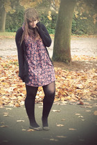 navy Topshop dress - black H&M cardigan - black next tights - charcoal gray Rive