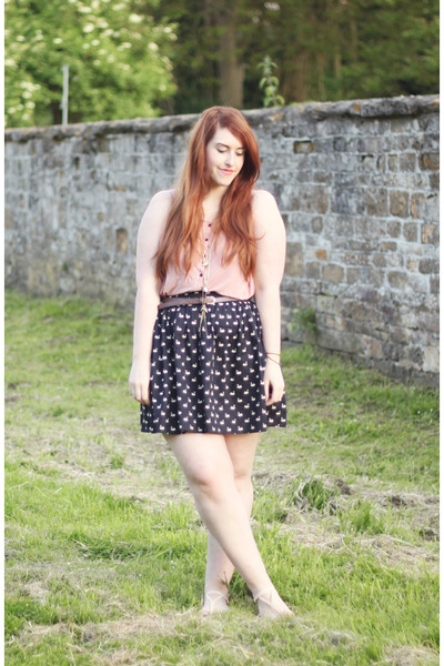 navy Topshop skirt - light brown H&M belt - light pink H&M top