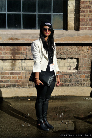 white  blazer Grandma Funk blazer - leather cut out Jeffery Campbell boots