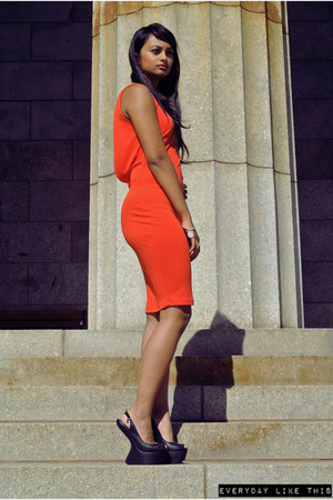 red H & M dress - tony bianco heels