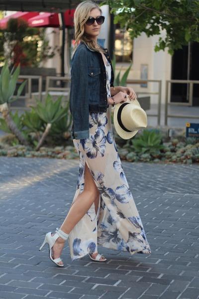 white JustFab heels - beige Lush dress - H&M hat