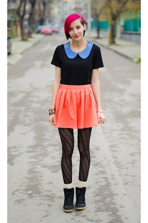 Bershka skirt - collar nowIStyle top - River Island wedges