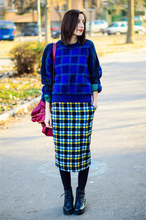 plaid vintage sweater - plaid pencil nowIStyle skirt