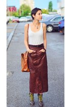 maxi leather Gap skirt - lace New Yorker boots - light gray clockhouse top