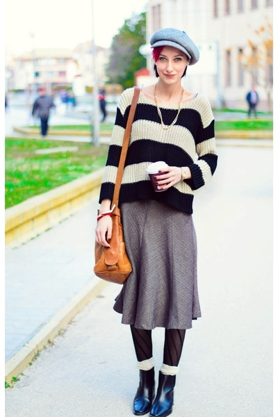 necklace - hat - second hand sweater - second hand skirt