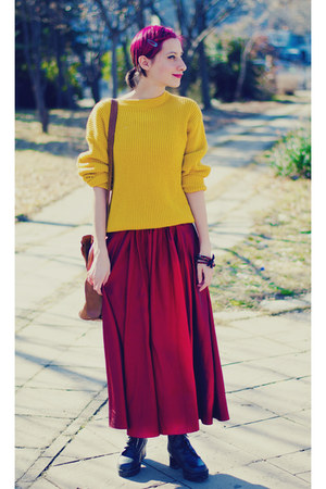 mustard second hand sweater - Msdressy dress