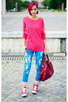 cichic jeans - oversize pink Vero Moda sweater - nowIStyle bag