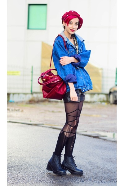 denim second hand jacket - beret nowIStyle hat - nowIStyle bag